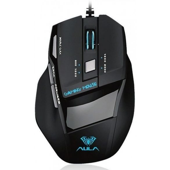 AULA S12 professional gamer mouse - 4800dpi, 7 programmable buttons, RGB LED lighting, wired USB connection