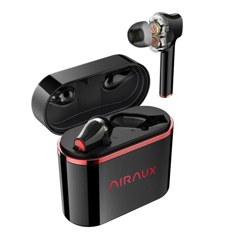 BlitzWolf® AirAux AA-UM5 - Dual Dynamic Drivers Headphones. Touch Control, IPX5 - Black-Red