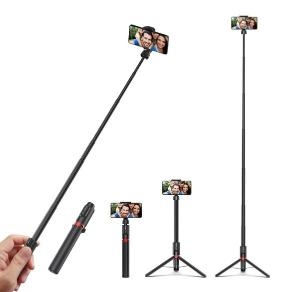 Selfie stick, tripod + extra length - BlitzWolf® BW-BS10 Plus 1300 mm long, with pull-out stand, concealed legs, removable remote control