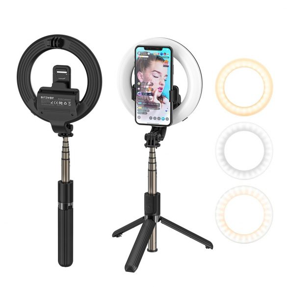 BlitzWolf® BW-BS8 Pro - Fill Light Selfie Stick, Tripod, 5 inch Ring Light