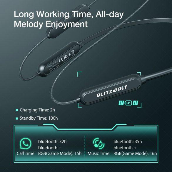 BlitzWolf® BW-FLB1 Neck Hanging bluetooth Game Earphone - Dynamic Driver, Powerful Bass, Low Delay Mode, Dazzling Logo RBG, Long Battery Life