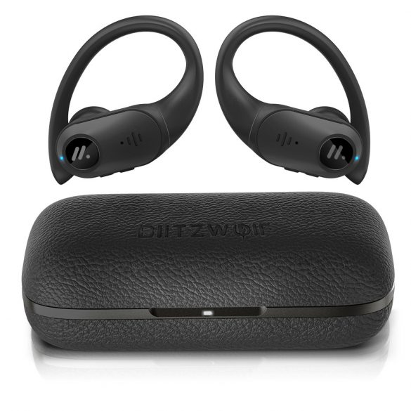 BlitzWolf BW-FYE10 TWS - 13mm Dynamic Driver Bass Stereo Sports Ear Hooks with Leather Charging Box - Black