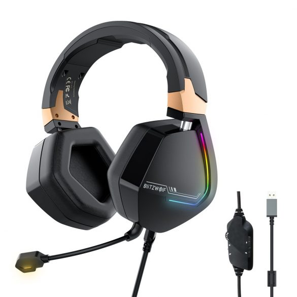 7.1 Surround Gamer Headphone - BlitzWolf BW-GH2; RGB LED, noise reduction, ergonomic design
