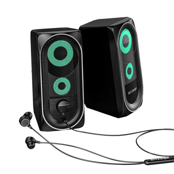 BlitzWolf BW-GT1 - Computer speaker with RGB lighting, bass boost, compact size