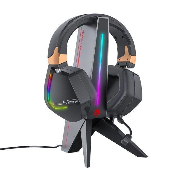 BlitzWolf BW-GTK0 - RGB Gaming headphone holder, USB and Jack port
