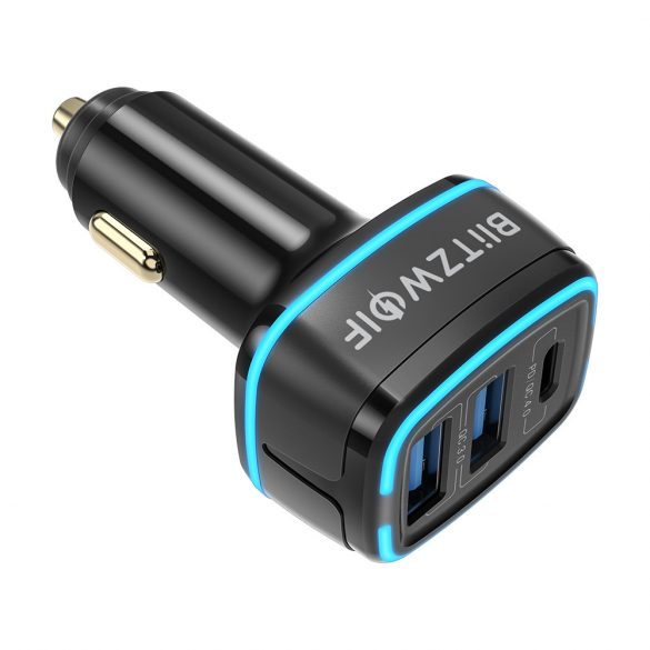 BlitzWolf® BW-SD7 Car Charger 30W  2xQC4.0 + 1x PD fast charging technology, LED lighting