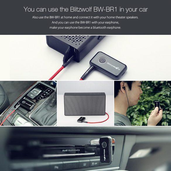 BlitzWolf® BW-BR1 Bluetooth V4.1 Car Handsfree Music Receiver 3.5mm AUX Audio Adapter