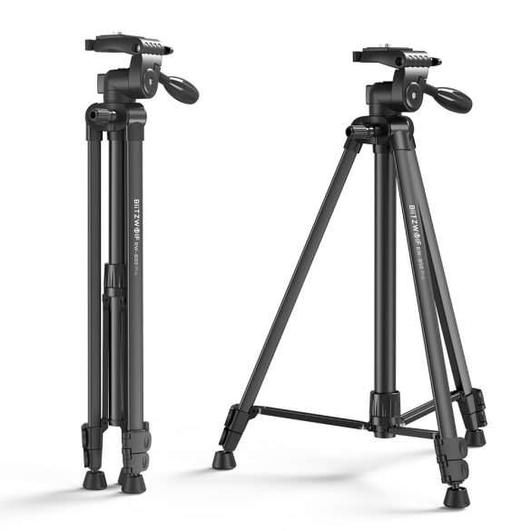 "Tripod for Cameras and Smartphones BlitzWolf® BW-BS0 Pro with Stable Tripod, Removable 1/4"" Plate, Adjustable Height, Broad Compatibility, Remote Control"