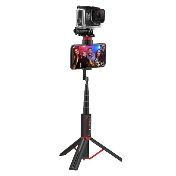 BlitzWolf® BW-BS10 sport All In One Portable Selfie Stick with Retractable Tripod, Hidden Phone Clamp, Up to 720mm Length, Removable Remote Control