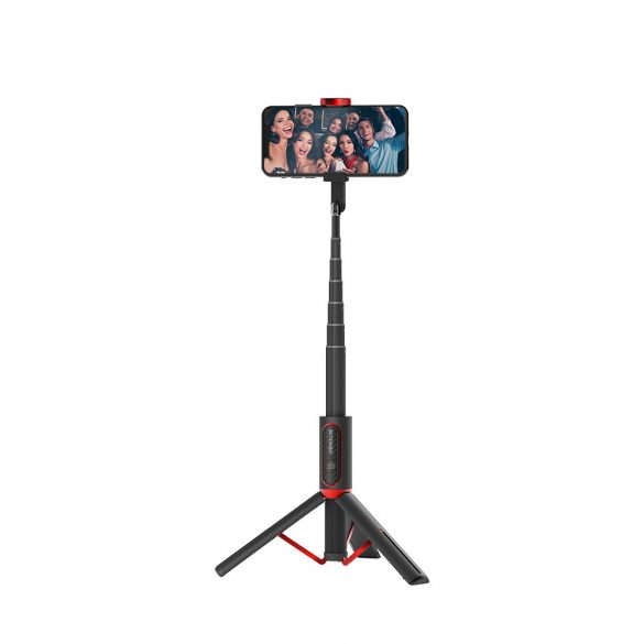 BlitzWolf® BW-BS10 All In One Portable Selfie Stick with Retractable Tripod, Hidden Phone Clamp, Up to 720mm Length, Removable Remote Control