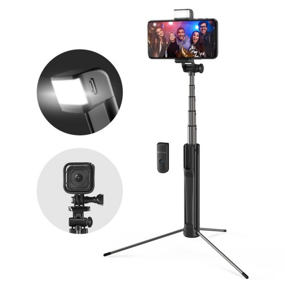 Tripod Selfie Stick with Fill Light - BlitzWolf® BW-BS8 Tripod Selfie Stick with Fill Light with Three Brightness Levels, Stylish Design, Burst Flashing and Removable Bluetooth Control