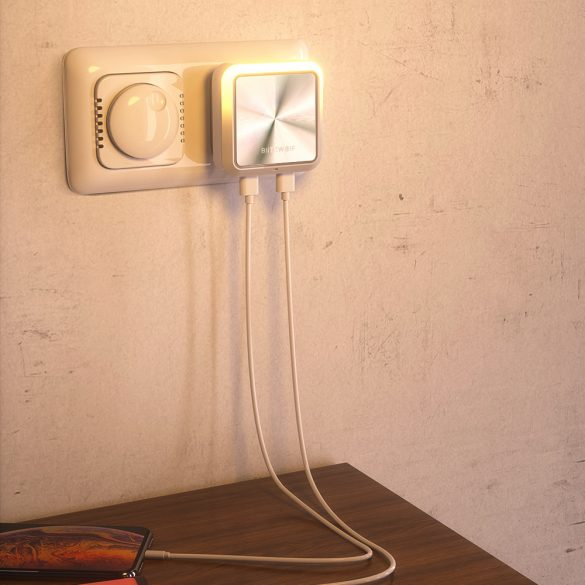 Plug-In Night Light + Dual USB Charger BlitzWolf® BW-LT14 Night Light with Dusk to Dawn Sensor, Double USB Charging Ports, 2200K Warm Light, Touch Control