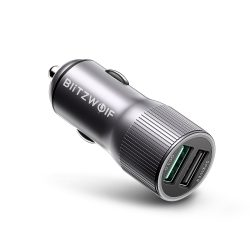 BlitzWolf® BW-SD2 30W Dual Ports LED Lights USB Car Charger With 1x QC 3.0 and Power3S Tech