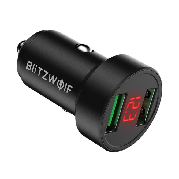 Car charger 24W BlitzWolf® BW-SD6 with 1xQ3.0 and 1xQ2.0 quick charge technology, with former display