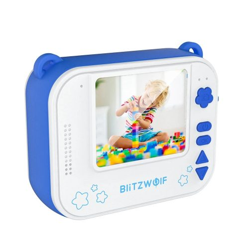 Blitzwolf BW-DP1 - Kid's camera and instant printer in one: 1080P, 30fps, filters, etc. - blue