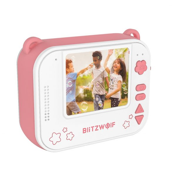 Blitzwolf BW-DP1 - Kid's camera and instant printer in one: 1080P, 30fps, filters, etc. - pink