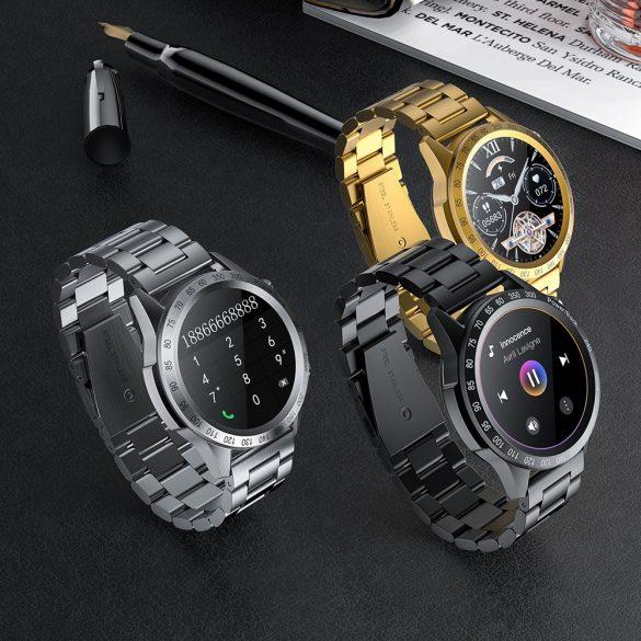 Blitzwolf® BW-HL4 (black) bluetooth smart watch - metal strap, IP67, call and message reminder, music playback, Muti-sport mode, health data