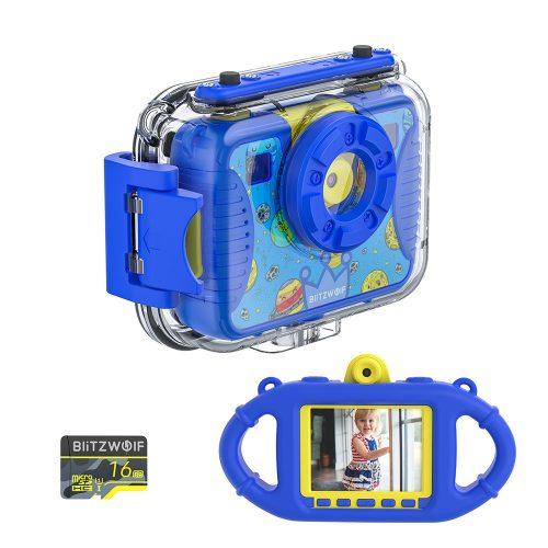 Blitzwolf BW-KC2- waterproof kids camera: 1080P, 30fps - blue
