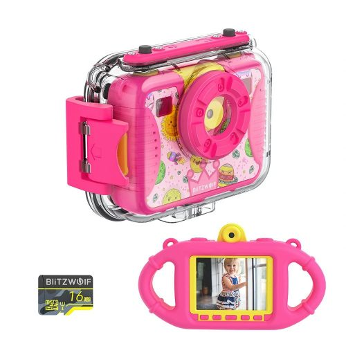 Blitzwolf BW-KC2- waterproof kids camera: 1080P, 30fps - rose