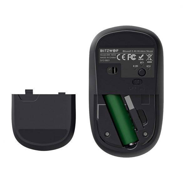 Blitzwolf BW-MO3 Wireless Mouse - Bluetooth + 2.4 GHz Wireless, 2400DPI - Silver