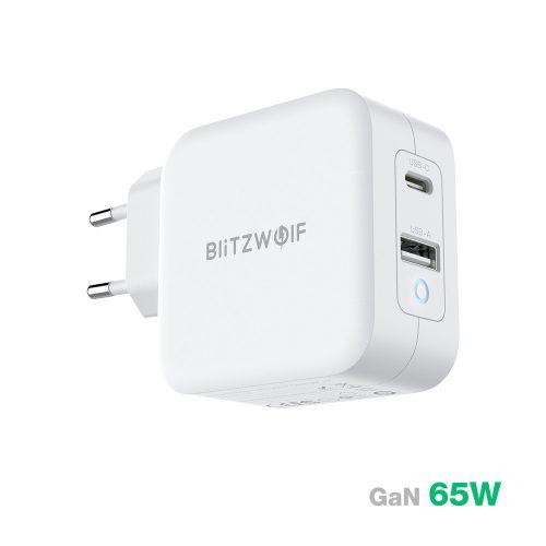 BlitzWolf® BW-S18 - GaN Tech Quick Charge: PD3.0, 65W, Power Adapter (1x USB-C + 1x USB-A)