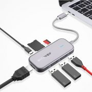 BlitzWolf® BW-TH5 7 in 1 USB-C Data Hub with 3-Port USB 3.0 TF Card Reader, HDMI,  USB-C PD Charging