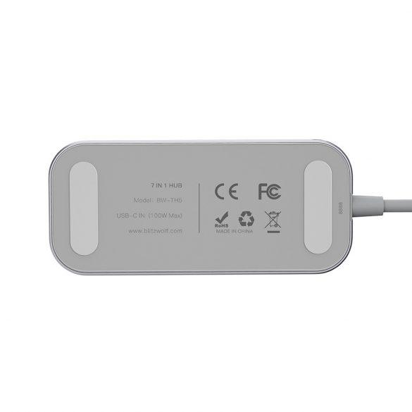 BlitzWolf® BW-TH5 7 in 1 USB-C Data Hub with 3-Port USB 3.0 TF Card Reader, HDMI,  USB-C PD Charging
