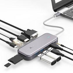 Blitzwolf BW-TH8 Hub 11 in one: 100W, USB 3.0 port, SD card reader, 4K HDMI, VGA, Jack, LAN port