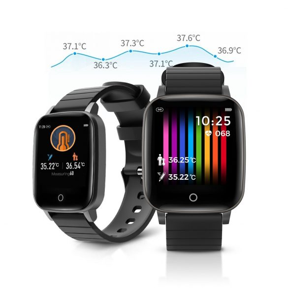 Blitzwolf® BW-HL1T IP68 Smartwatch Activity Monitor: Temperature, Blood Pressure and Heart Rate Monitor - Black