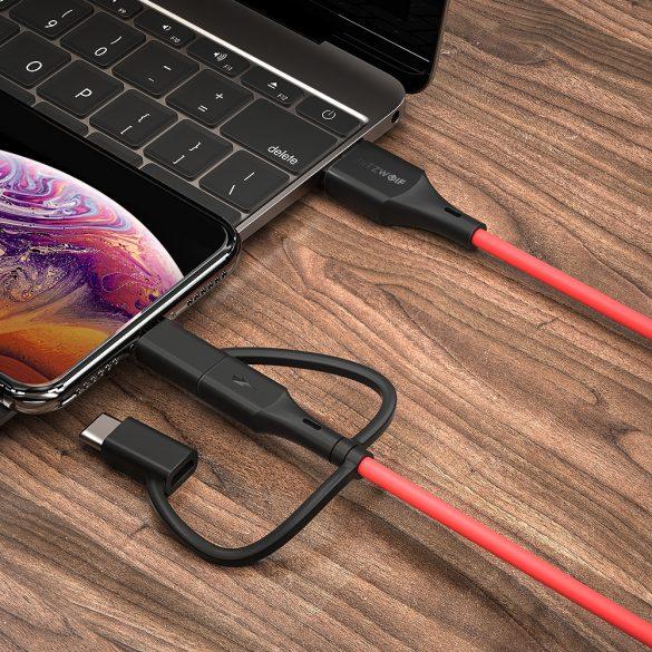 BlitzWolf® BW-MF4 3in1: Type C, Apple Lightning, Micro USB cable