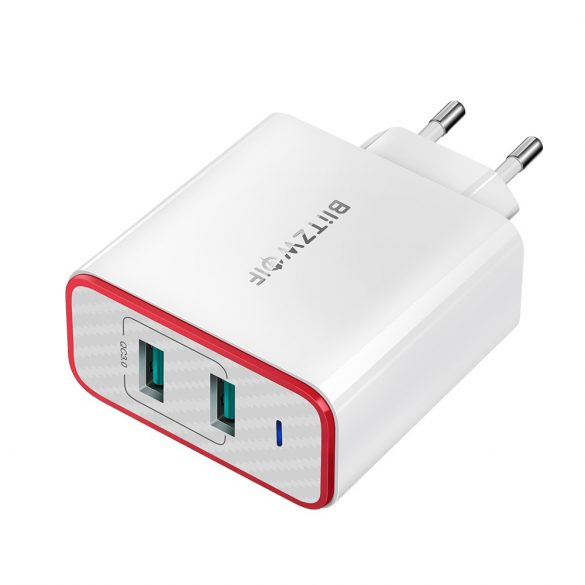 36W 2-Ports QC3.0 USB Fast Charger - BlitzWolf® BW-PL3 Unique Design, Multi-layer Protection