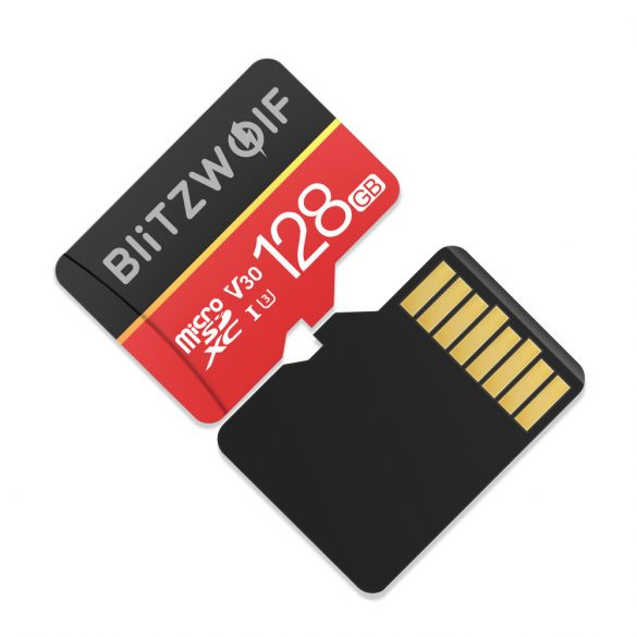 Memory Card with Adapter BlitzWolf®BW-TF1 128GB Memory Card with Adapter, Up to 80MB/s Read Speeds + 20MB/s Write Speeds