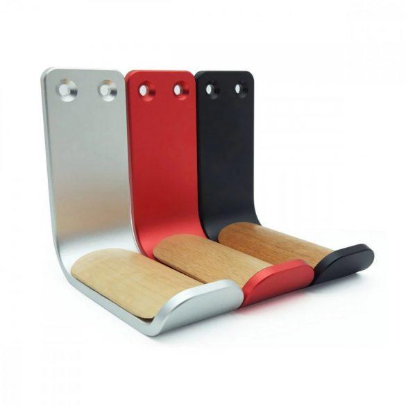 Headphone holder, wall-mounted - aluminum - black, red