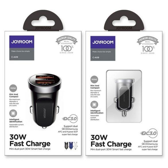 JOYROOM C-A09 Car Charger 30W; Aluminum body, 2xQ3.0 quick charger