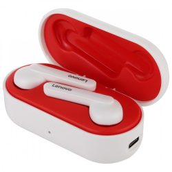 Lenovo HT28 Bluetooth V5.0 earphones - clear sound, stylish look, touch control, IPX5 waterproof, noise reduction. White and red