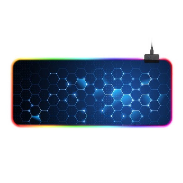 Waterproof RGB illuminated mouse pad - with 14 different light effects, size: 800 x 300 x 4 mm (honeycomb)