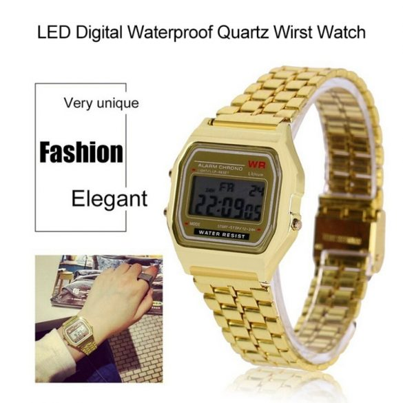 Retro quartz watch - gold color, waterproof design (IP44), stainless steel case