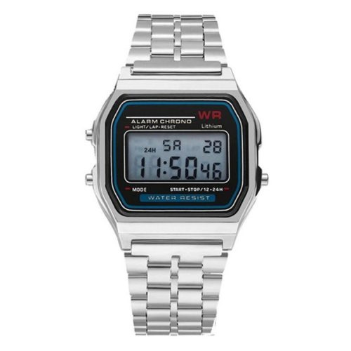 Retro quartz watch - silver color, waterproof design (IP44), stainless steel case