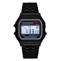Retro quartz watch - black color, waterproof design (IP44), stainless steel case