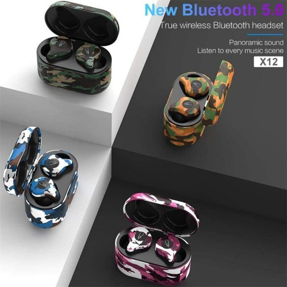 Sabbat X12 Amazon (camouflage)  - True Wireless Earbuds, Bluetooth 5.0 Headphones with Charging Case, Noise Cancelling Built in MicT WS HiFi Bass Stereo in Ear