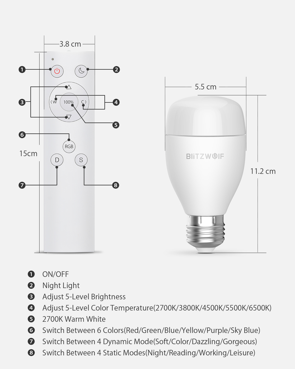 Smart bulb - BlitzWolf® BW-LT27, E27, 850m, 9W, 2700-6500K,